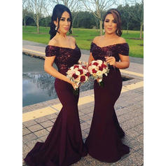 Trumpet/Mermaid Satin Sequined Bridesmaid Dresses Ruffle Off-the-Shoulder Sleeveless Sweep Train