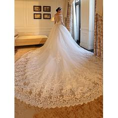 Ball-Gown Tulle Long Sleeves Off-The-Shoulder Royal Train Wedding Dresses