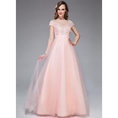 A-Line/Princess Tulle Lace Prom Dresses Beading Flower(s) Sequins Scoop Neck Short Sleeves Floor-Length (018044993)