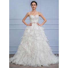 Ball-Gown Sweetheart Sweep Train Organza Lace Wedding Dress With Beading Cascading Ruffles (002106063)