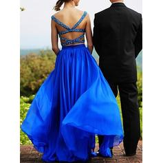 A-Line/Princess Sweetheart Floor-Length Evening Dresses With Beading