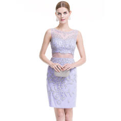 Sheath/Column Scoop Neck Short/Mini Tulle Cocktail Dress With Beading Sequins