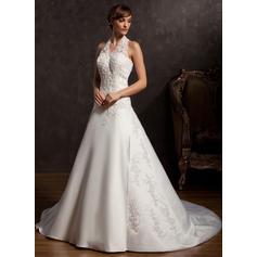 Elegant Halter A-Line/Princess Wedding Dresses Chapel Train Satin Sleeveless