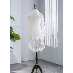 Fingertip Bridal Veils Tulle Two-tier With Lace Applique Edge With Lace Wedding Veils