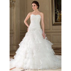 A-Line/Princess Sweetheart Chapel Train Wedding Dresses With Lace Beading Sequins Cascading Ruffles (002196883)