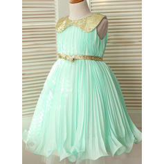 A-Line/Princess Peter Pan Collar Knee-length With Sash Chiffon/Sequined Flower Girl Dresses