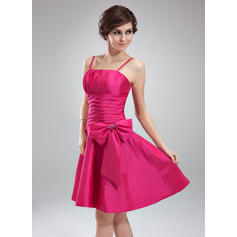 A-Line/Princess Taffeta Bridesmaid Dresses Ruffle Beading Sleeveless Knee-Length
