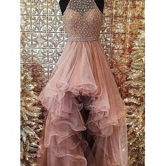 Ball-Gown Halter Asymmetrical Evening Dresses With Beading