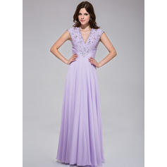 A-Line/Princess Chiffon Prom Dresses Ruffle Lace Beading Sequins V-neck Sleeveless Floor-Length (018025512)