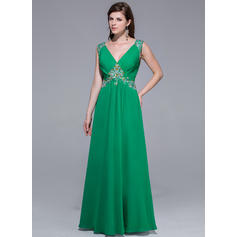 A-Line/Princess Chiffon Prom Dresses Ruffle Beading V-neck Sleeveless Floor-Length (018025510)