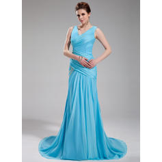A-Line/Princess V-neck Court Train Evening Dresses With Ruffle Beading