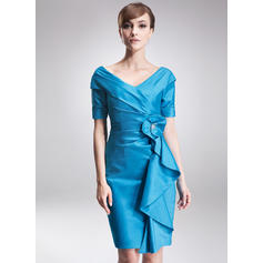 Sheath/Column Taffeta Short Sleeves Off-the-Shoulder Knee-Length Zipper Up Mother of the Bride Dresses (008006275)