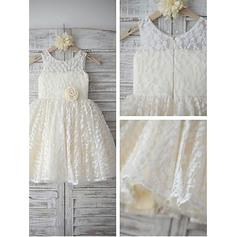 A-Line/Princess Scoop Neck Tea-length With Flower(s) Lace Flower Girl Dresses (010212022)
