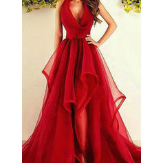 A-Line/Princess Tulle Prom Dresses Ruffle V-neck Sleeveless Asymmetrical Sweep Train