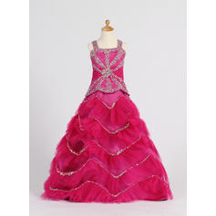 Fashion Straps Ball Gown Flower Girl Dresses Floor-length Satin/Tulle Sleeveless (010007372)