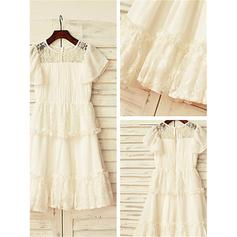 A-Line/Princess Scoop Neck Ankle-length With Lace Chiffon Flower Girl Dresses (010211973)