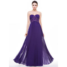 A-Line/Princess Sweetheart Floor-Length Prom Dresses With Beading Appliques Lace Sequins Pleated
