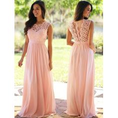 A-Line/Princess Scoop Neck Floor-Length Chiffon Bridesmaid Dresses With Ruffle