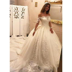 Ball-Gown Tulle Lace Long Sleeves Off-The-Shoulder Royal Train Wedding Dresses (002147800)