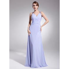 A-Line/Princess V-neck Floor-Length Evening Dresses With Ruffle Beading (017014573)