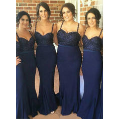 Trumpet/Mermaid Sweetheart Sweep Train Bridesmaid Dresses With Beading (007211685)