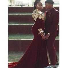 Trumpet/Mermaid Velvet Prom Dresses Appliques Lace High Neck Long Sleeves Court Train (018210198)