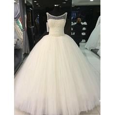 Ball-Gown Scoop Floor-Length Wedding Dresses With Sash Beading (002210853)