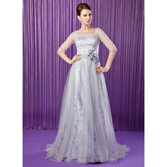 A-Line/Princess Tulle Lace 1/2 Sleeves Scoop Neck Sweep Train Zipper Up Mother of the Bride Dresses (008213158)