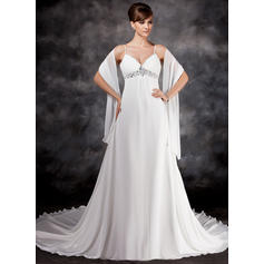 Empire Sweetheart Chapel Train Wedding Dresses With Ruffle Beading Sequins (002211309)