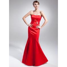 Trumpet/Mermaid Sweetheart Floor-Length Evening Dresses With Crystal Brooch (017015002)