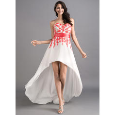 A-Line/Princess Sweetheart Asymmetrical Prom Dresses With Sash Appliques Lace (018046257)