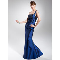 Trumpet/Mermaid One-Shoulder Floor-Length Evening Dresses With Ruffle Beading (017014681)
