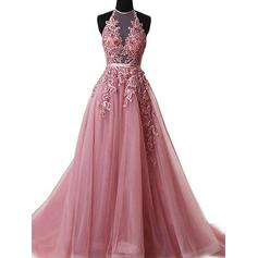 A-Line/Princess Tulle Prom Dresses Appliques Lace Halter Sleeveless Sweep Train (018210924)