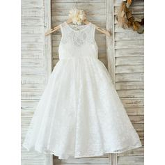 2018 New Scoop Neck A-Line/Princess Flower Girl Dresses Floor-length Lace Sleeveless