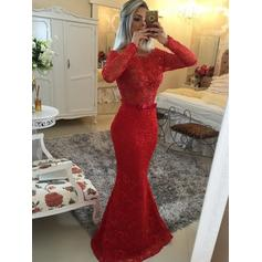 Trumpet/Mermaid Sweep Train Prom Dresses Scoop Neck Lace Long Sleeves (018144679)