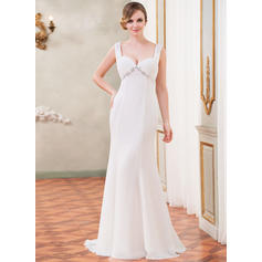 Trumpet/Mermaid Sweetheart Watteau Train Wedding Dresses With Ruffle Lace Beading Sequins (002210555)
