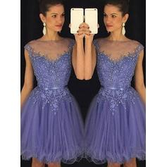 A-Line/Princess Scoop Neck Knee-Length Tulle Cocktail Dresses With Beading