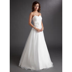 A-Line/Princess Sweetheart Floor-Length Wedding Dresses With Ruffle Flower(s) (002211422)