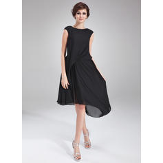 A-Line/Princess Scoop Neck Asymmetrical Chiffon Cocktail Dresses With Ruffle Beading