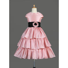 Beautiful Scoop Neck A-Line/Princess Flower Girl Dresses Tea-length Taffeta Sleeveless (010014645)
