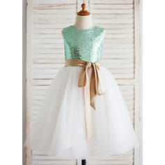 A-Line/Princess Tea-length Flower Girl Dress - Tulle/Sequined Sleeveless Scoop Neck With Sash (Detachable sash)
