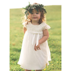 Empire Scoop Neck Tea-length Chiffon/Lace Sleeveless Flower Girl Dresses (010210938)