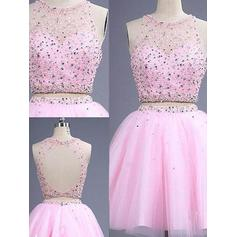 A-Line/Princess Scoop Neck Short/Mini Detachable Tulle Homecoming Dresses With Beading