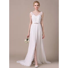 A-Line/Princess Sweetheart Sweep Train Wedding Dresses With Ruffle Beading Sequins Split Front (002210607)