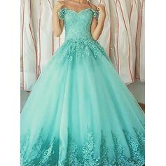 Ball-Gown Tulle Prom Dresses Appliques Lace Off-the-Shoulder Sleeveless Floor-Length