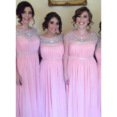 A-Line/Princess Chiffon Bridesmaid Dresses Beading Sequins Scoop Neck Sleeveless Floor-Length (007144968)
