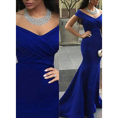 Trumpet/Mermaid Off-the-Shoulder Court Train Satin Prom Dresses