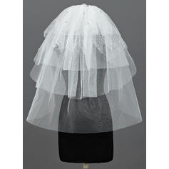 Elbow Bridal Veils Tulle Five-tier Classic With Cut Edge Wedding Veils