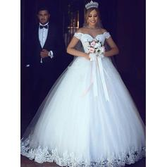 Ball-Gown Off-The-Shoulder Floor-Length Wedding Dresses With Lace