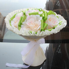 "Bridal Bouquets Round Wedding/Party/Casual Satin 11.42""(Approx.29cm) Wedding Flowers"